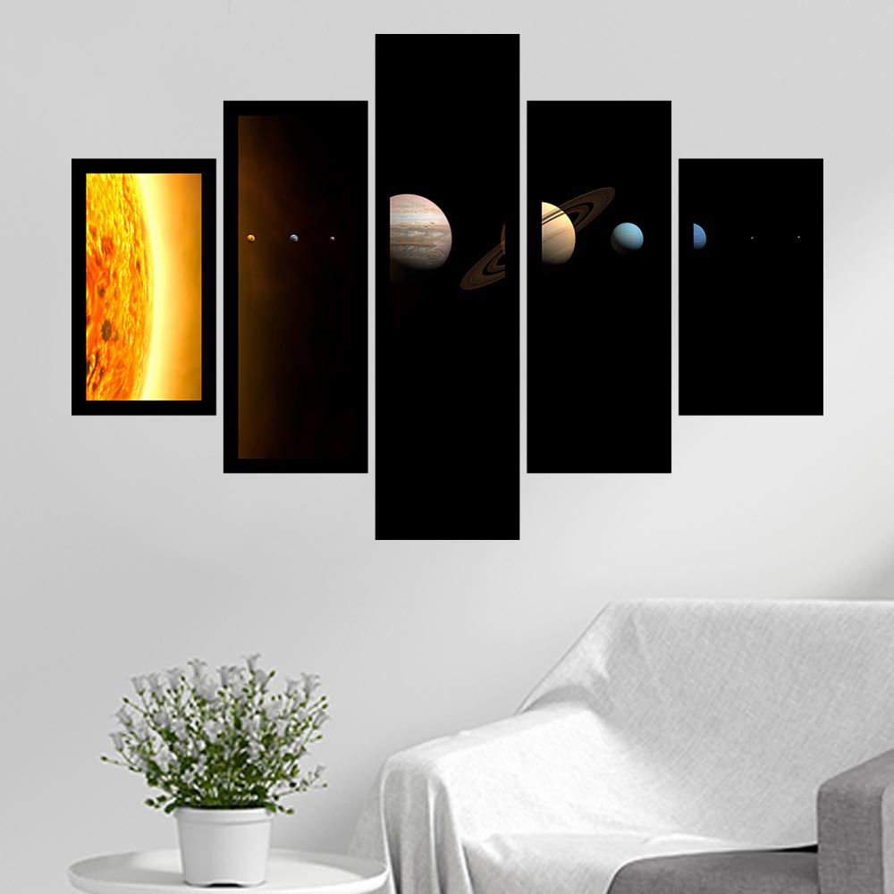 Quadro Mosaico 5 Partes Sistema Solar Com Moldura