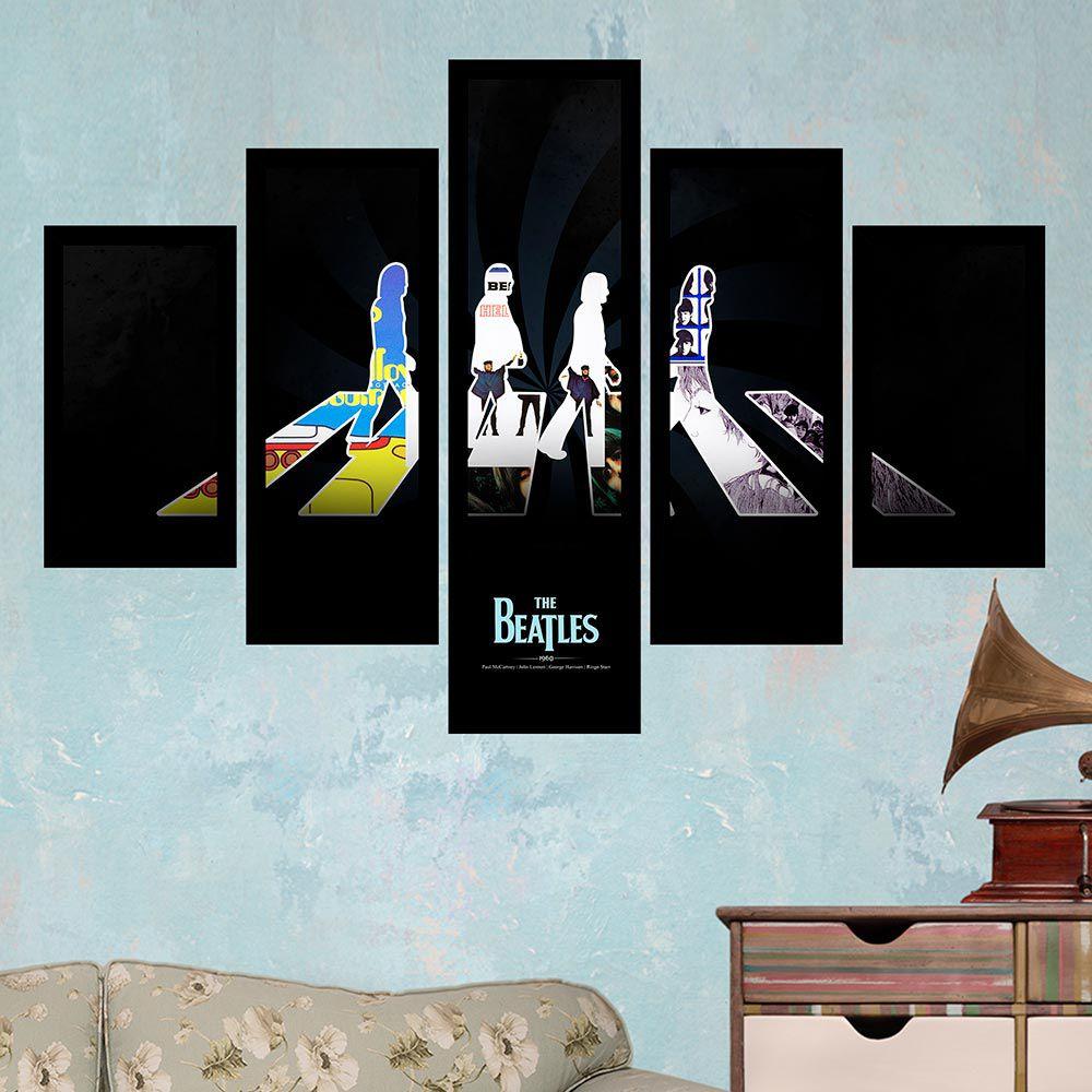 Quadro Mosaico 5 Partes The Beatles Colorido Com Moldura