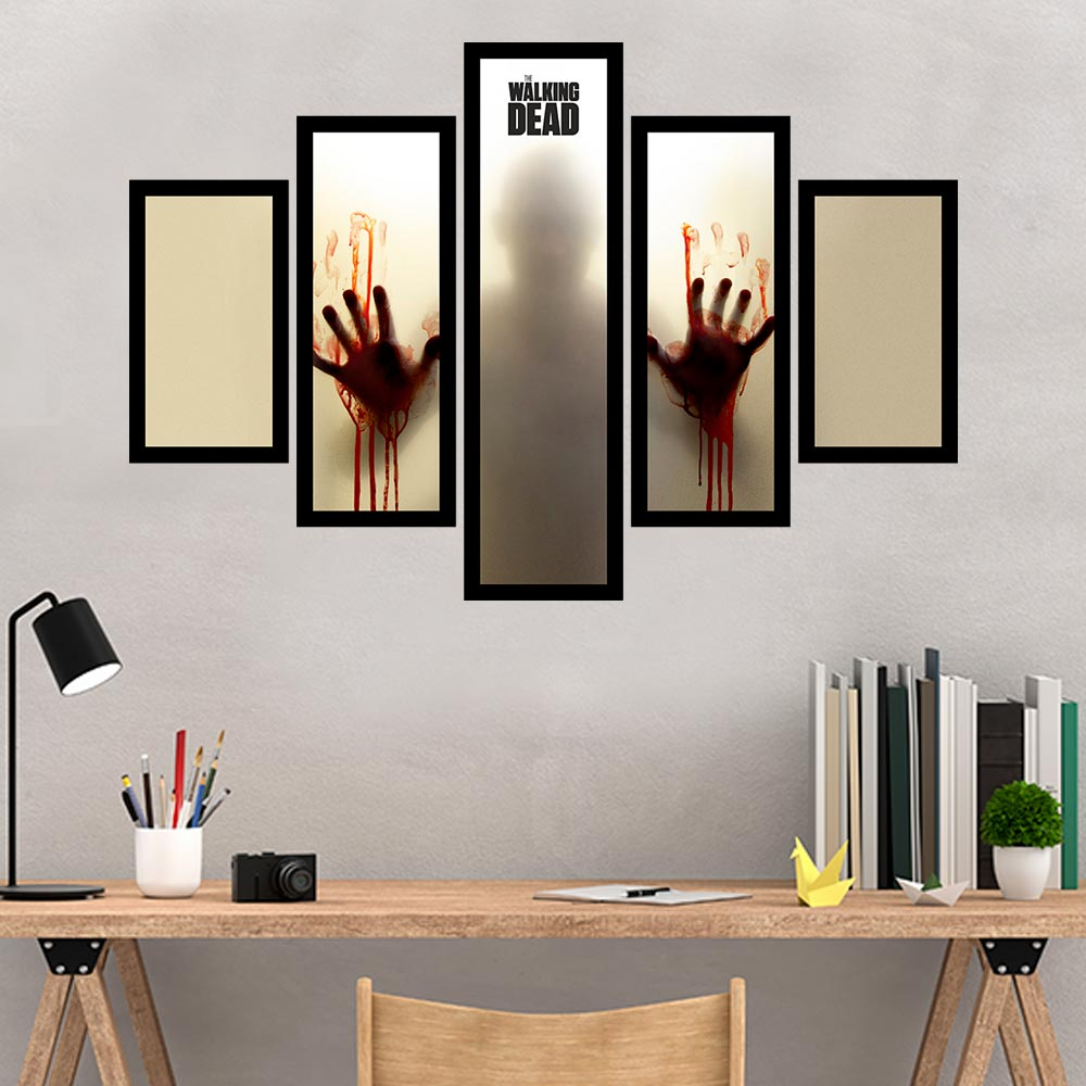 Quadro Mosaico 5 Partes The Walking Dead Com Moldura