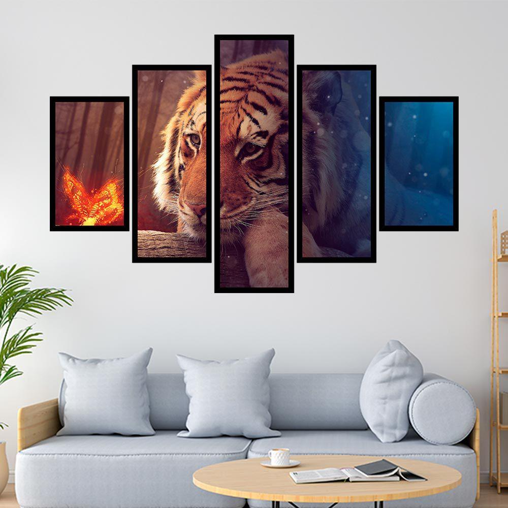 QUADRO MOSAICO 5 PARTES TIGRE RED AND BLUE
