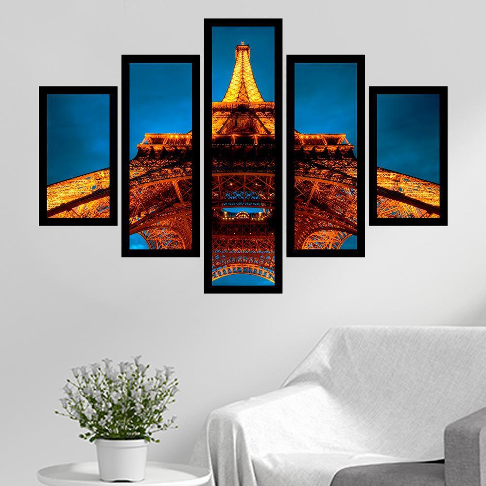 Quadro Mosaico 5 Partes Torre Eiffel a Noite