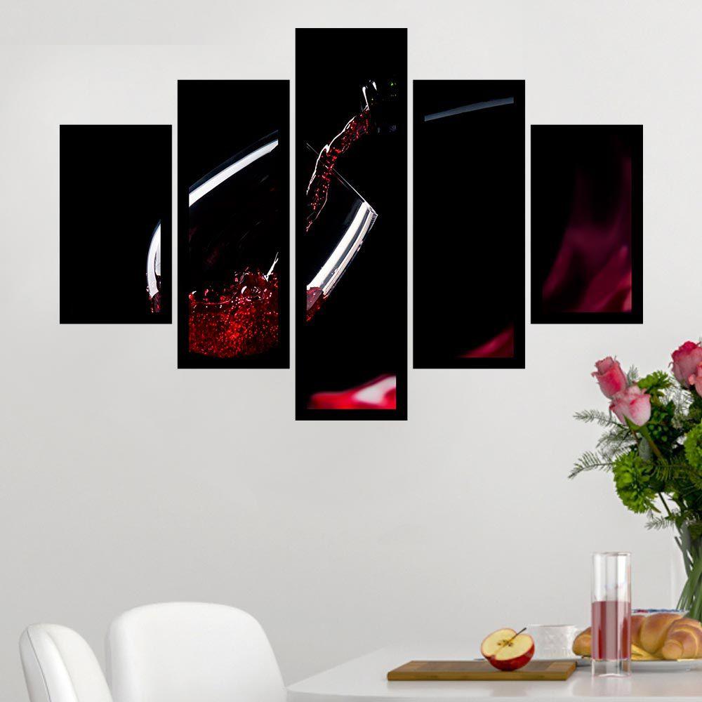 Quadro Mosaico 5 Partes Vinho