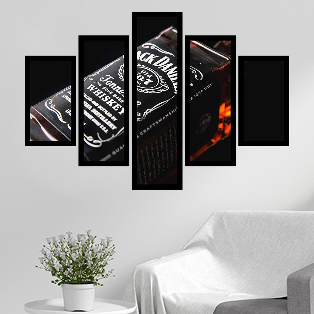 Quadro Mosaico 5 Partes Wisk Jack Daniels Com Moldura