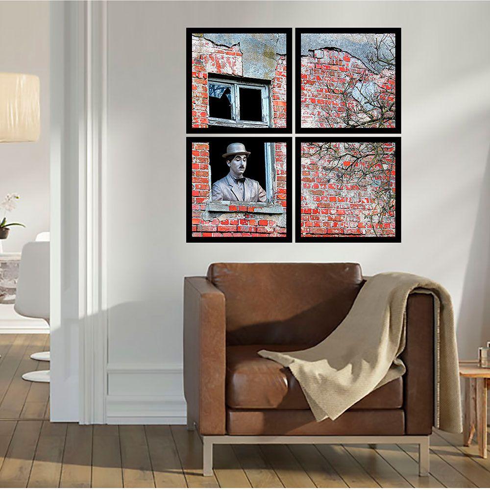 Quadro Mosaico 72x72 cm Charles Chaplin Na Janela