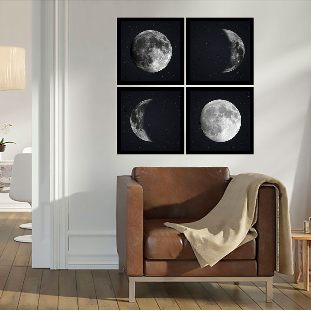 Quadro Mosaico 72x72cm As 4 Fases Da Lua C/ Mold.
