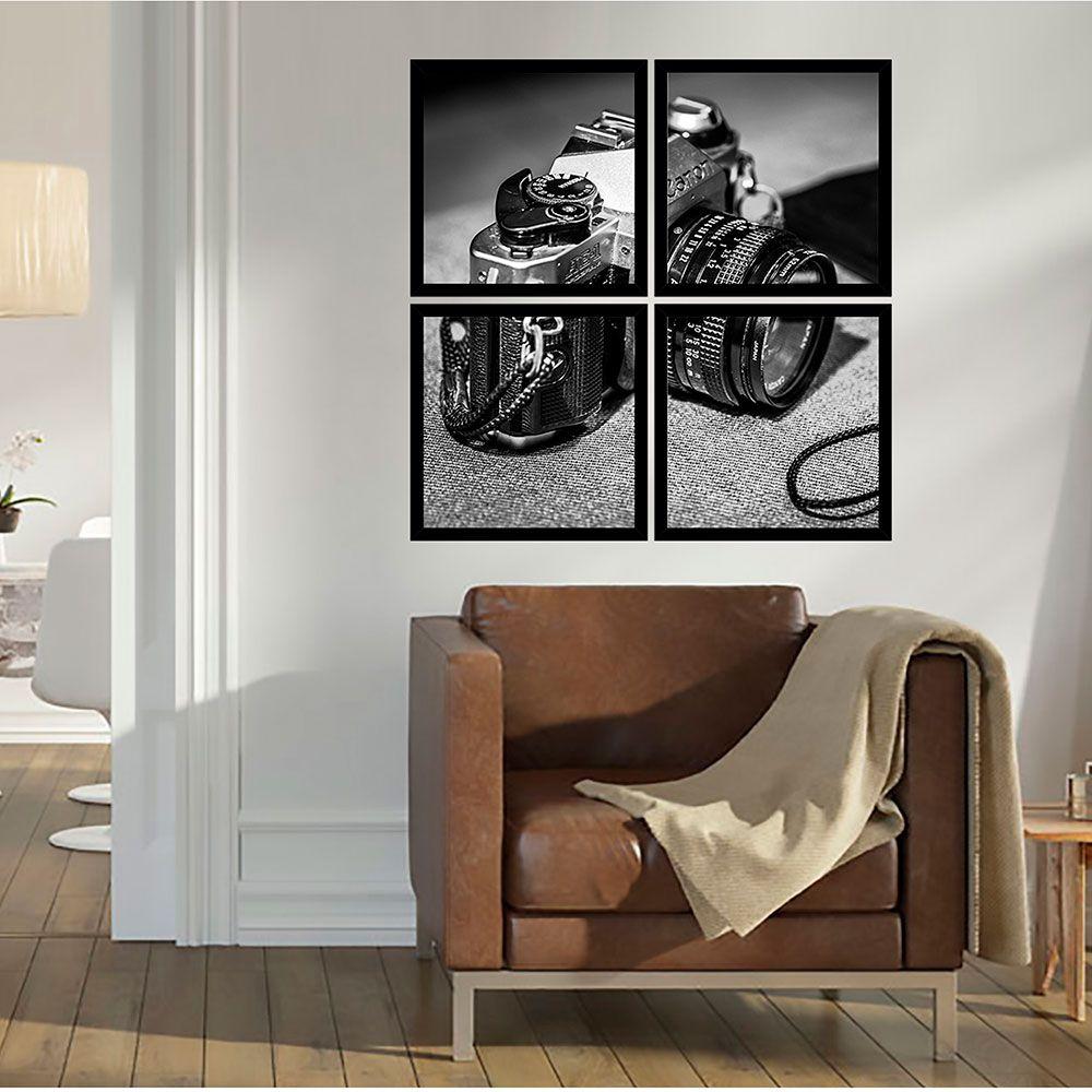 Quadro Mosaico 72x72cm Câmera Antiga C/ Mold.