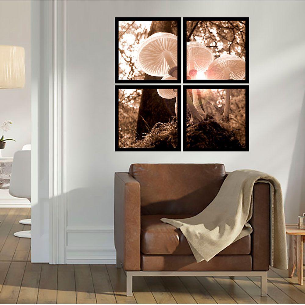 Quadro Mosaico 72x72cm Cogumelos Brancos C/ Mold.