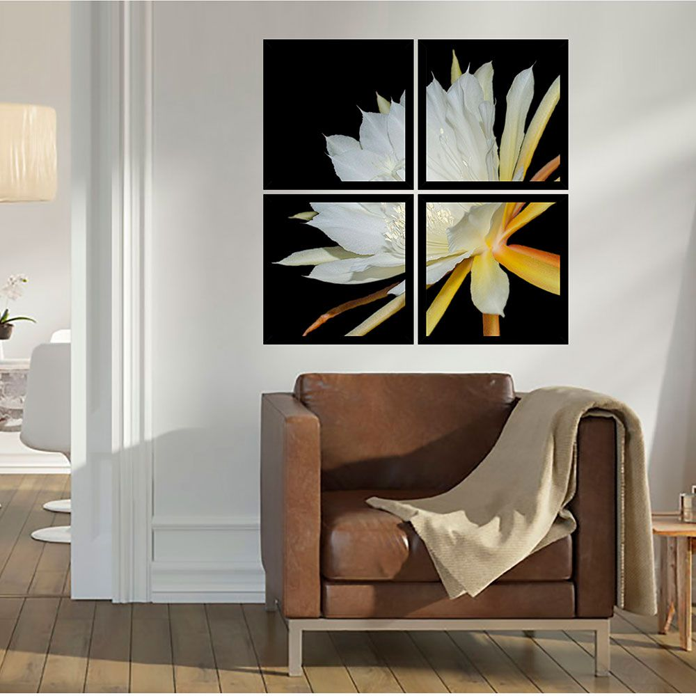 Quadro Mosaico 72x72cm Epiphyllon Branca C/ Mold.
