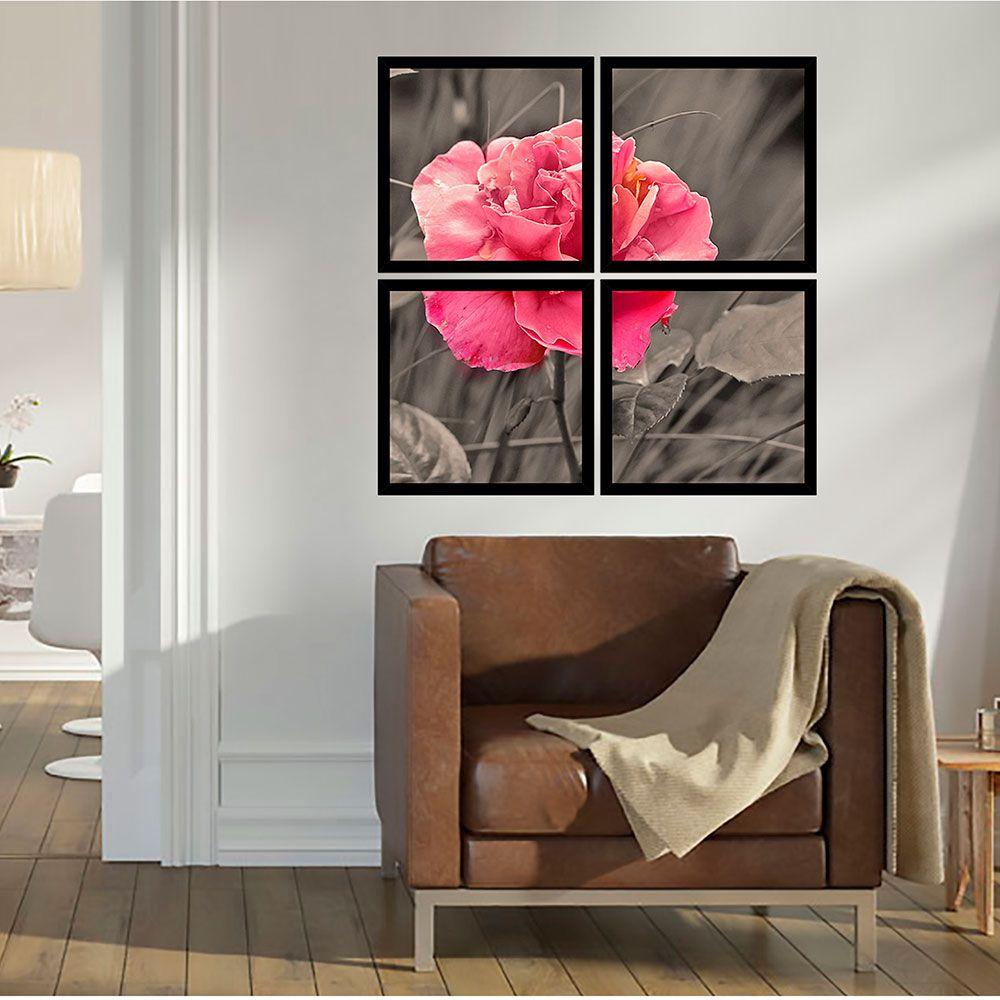 Quadro Mosaico 72x72cm Flor Cor De Rosa C/ Mold.