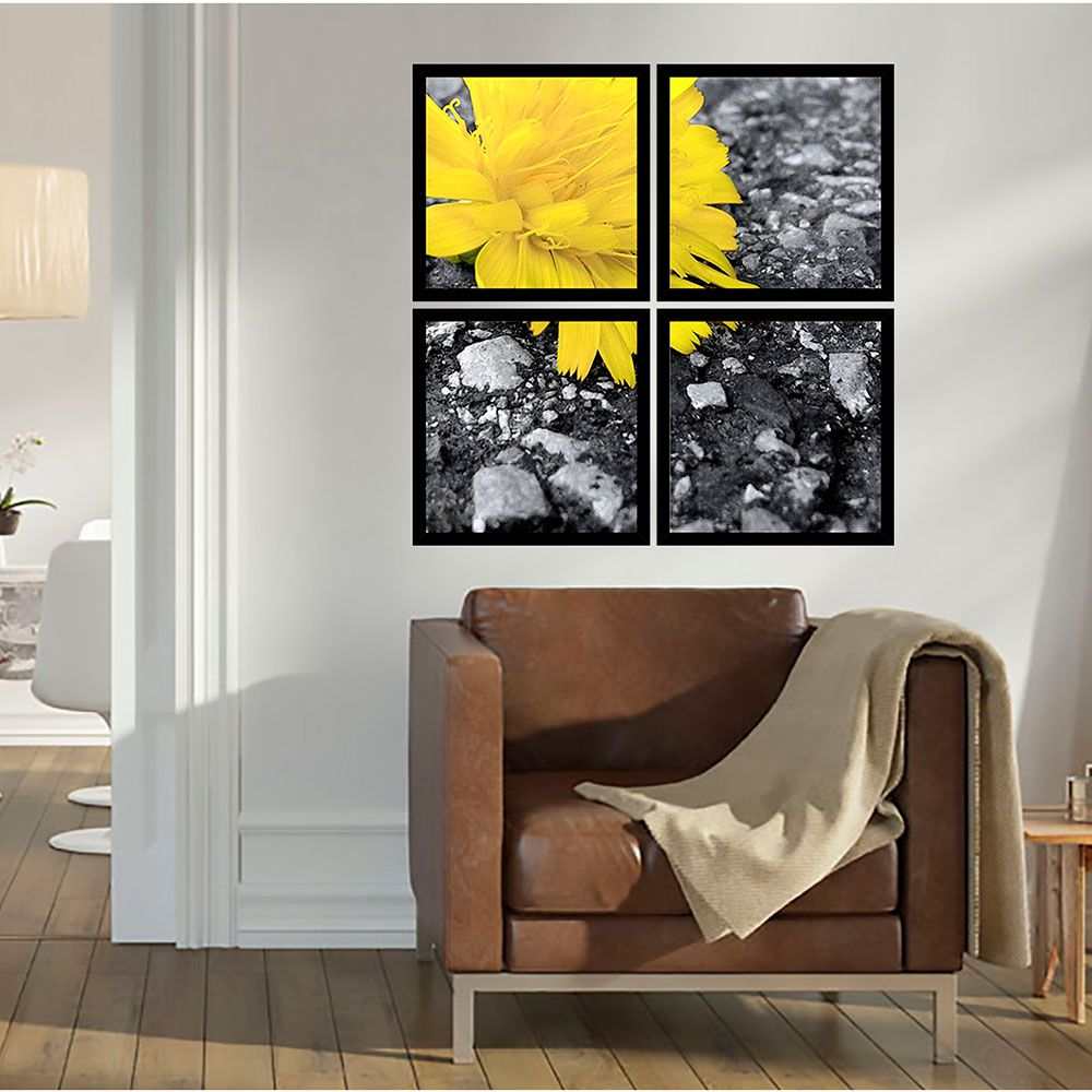 Quadro Mosaico 72x72cm Flower Yelow C/ Mold.
