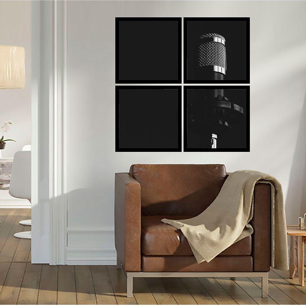 Quadro Mosaico 72x72cm Mic Condenser P&b C/ Mold.