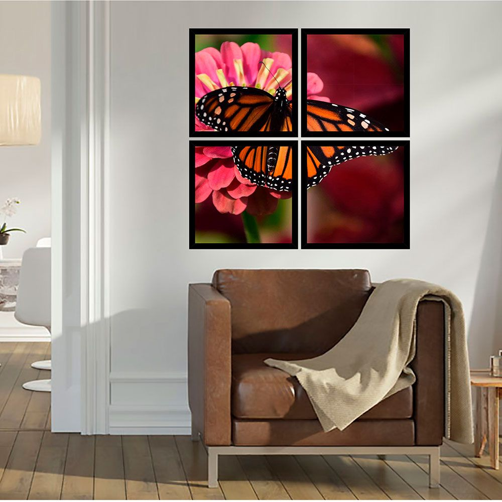 Quadro Mosaico 72x72cm Monarch Butterfly C/ Mold.