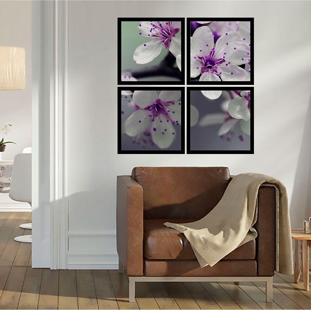 Quadro Mosaico 72x72cm Orquídeas Lilas com MOLDURA