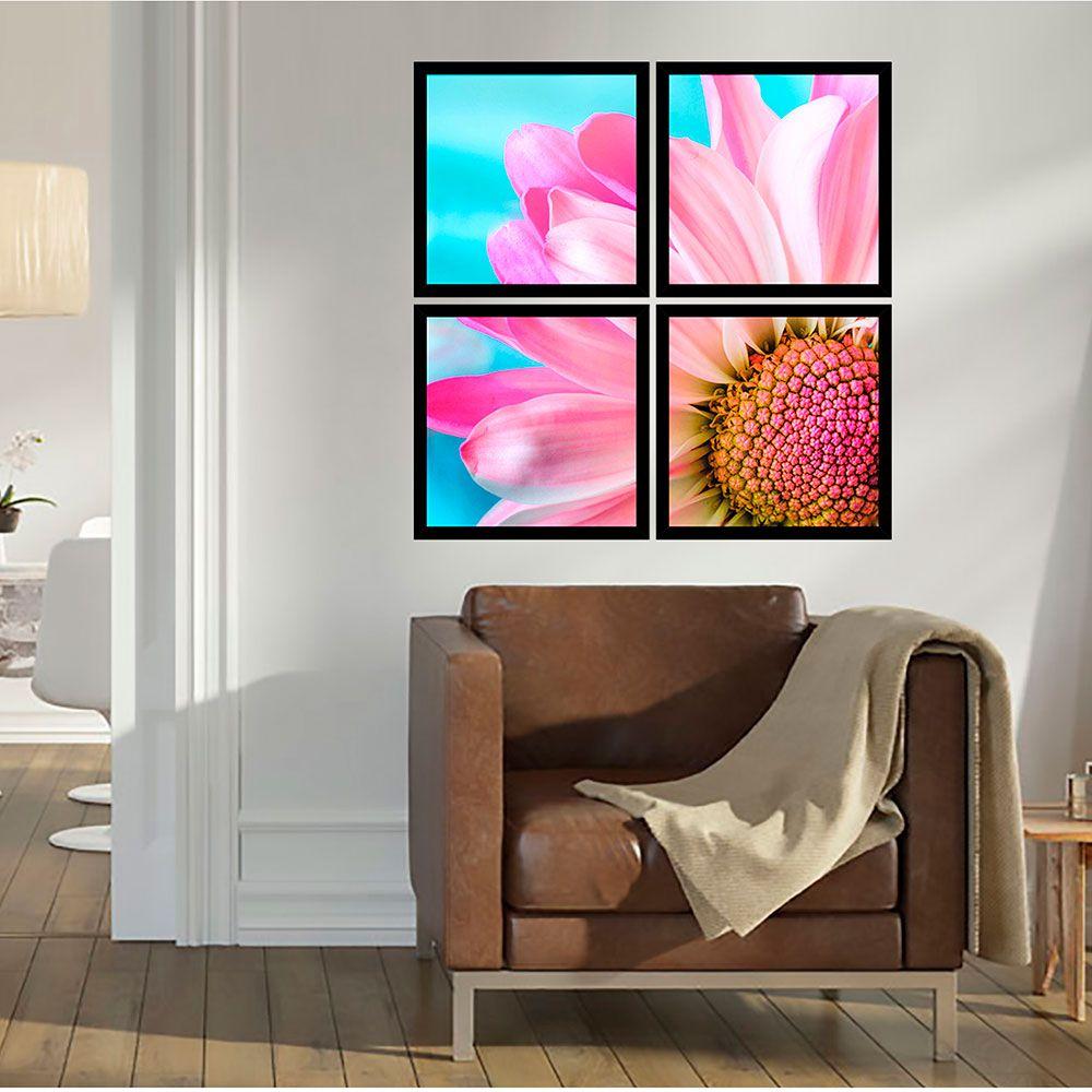Quadro Mosaico 72x72cm Petal Rosa C/ Mold.