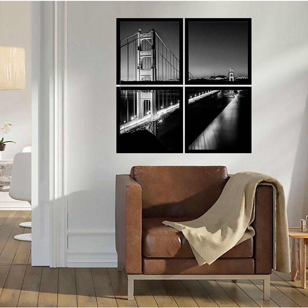 Quadro Mosaico 72x72cm Ponte Golden Gate C/ Mold.