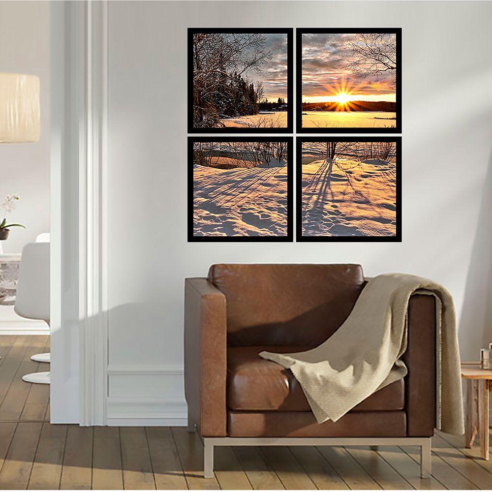 Quadro Mosaico 72x72cm Pôr Do Sol Neve C/ Mold.