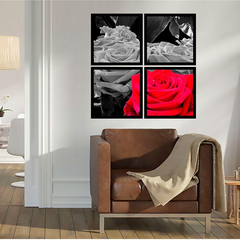 Quadro Mosaico 72x72cm Rosa Vermelha P&b C/ Mold.