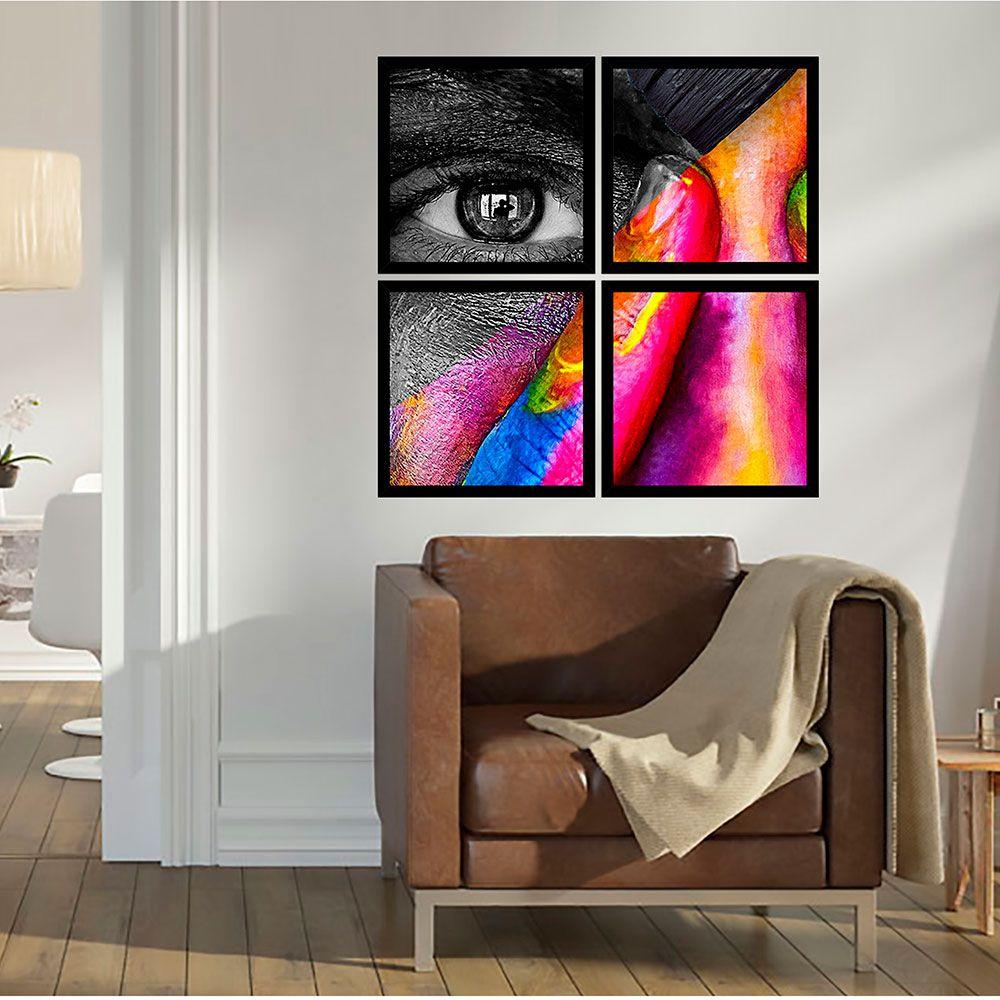Quadro Mosaico 72x72cm Rosto Pintado C/ Mold.