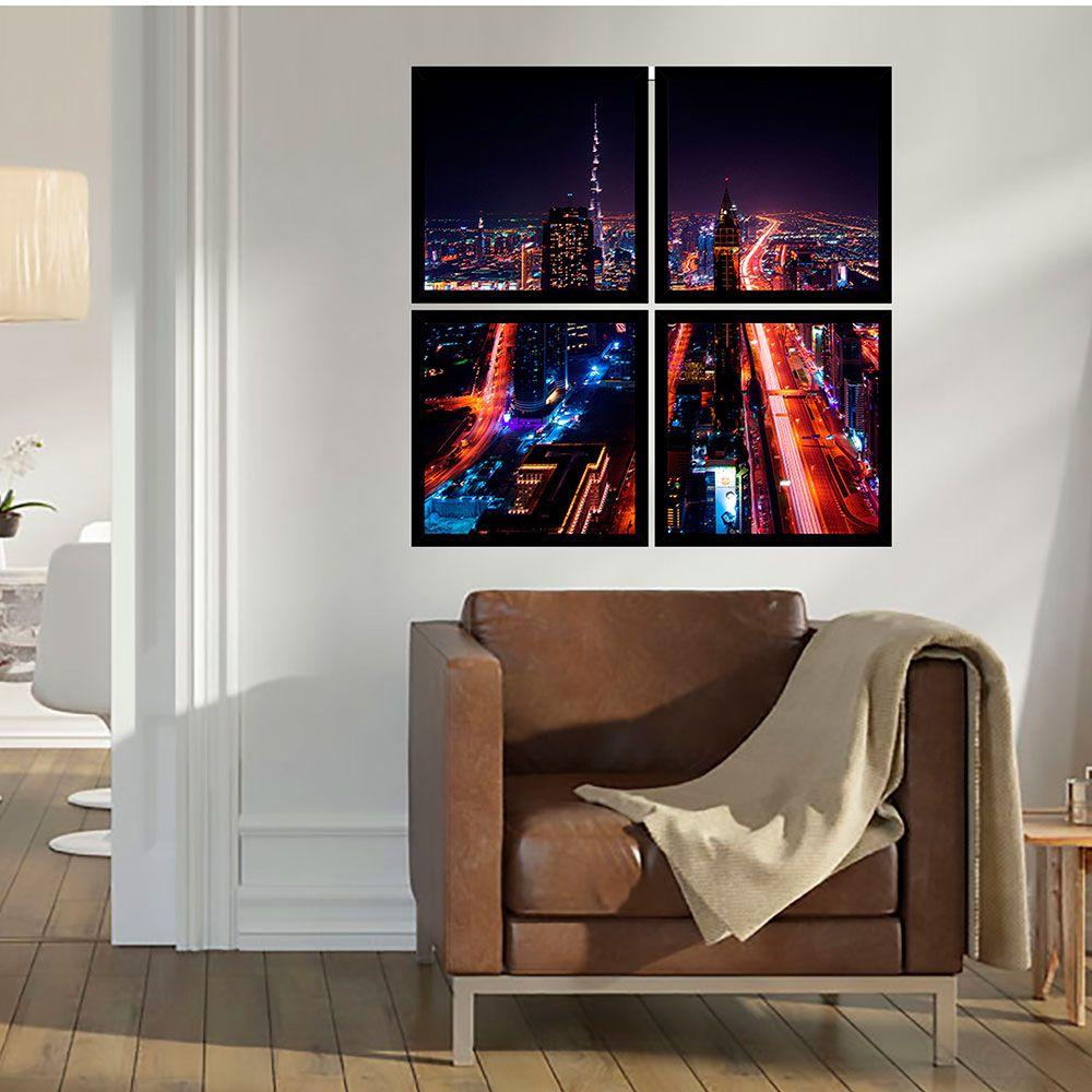Quadro Mosaico 72x72cm Ruas De Dubai C/ Mold.