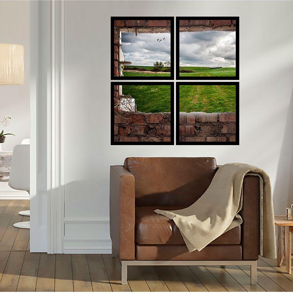 Quadro Mosaico 72x72cm Vista Da Plantação C/ Mold.