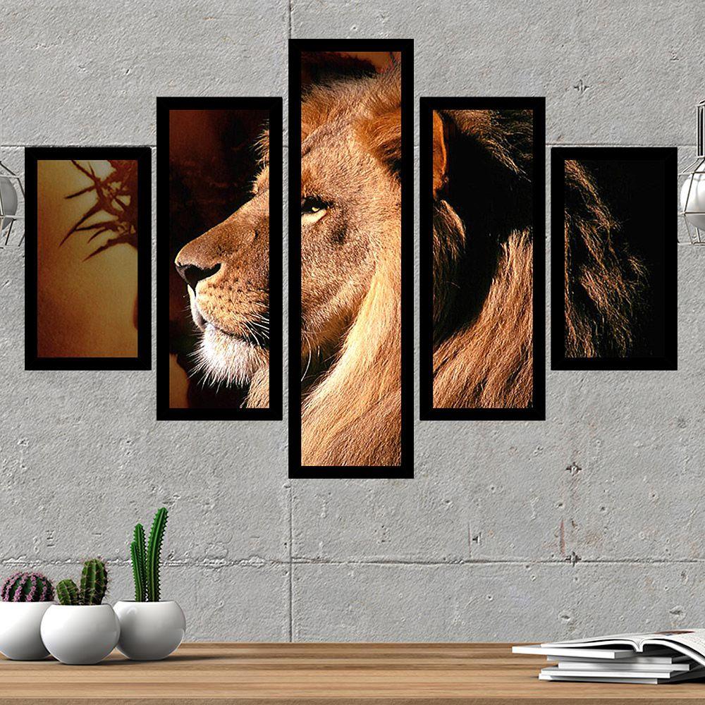 Quadro Mosaico Decorativo 69x101 Leão de Judá