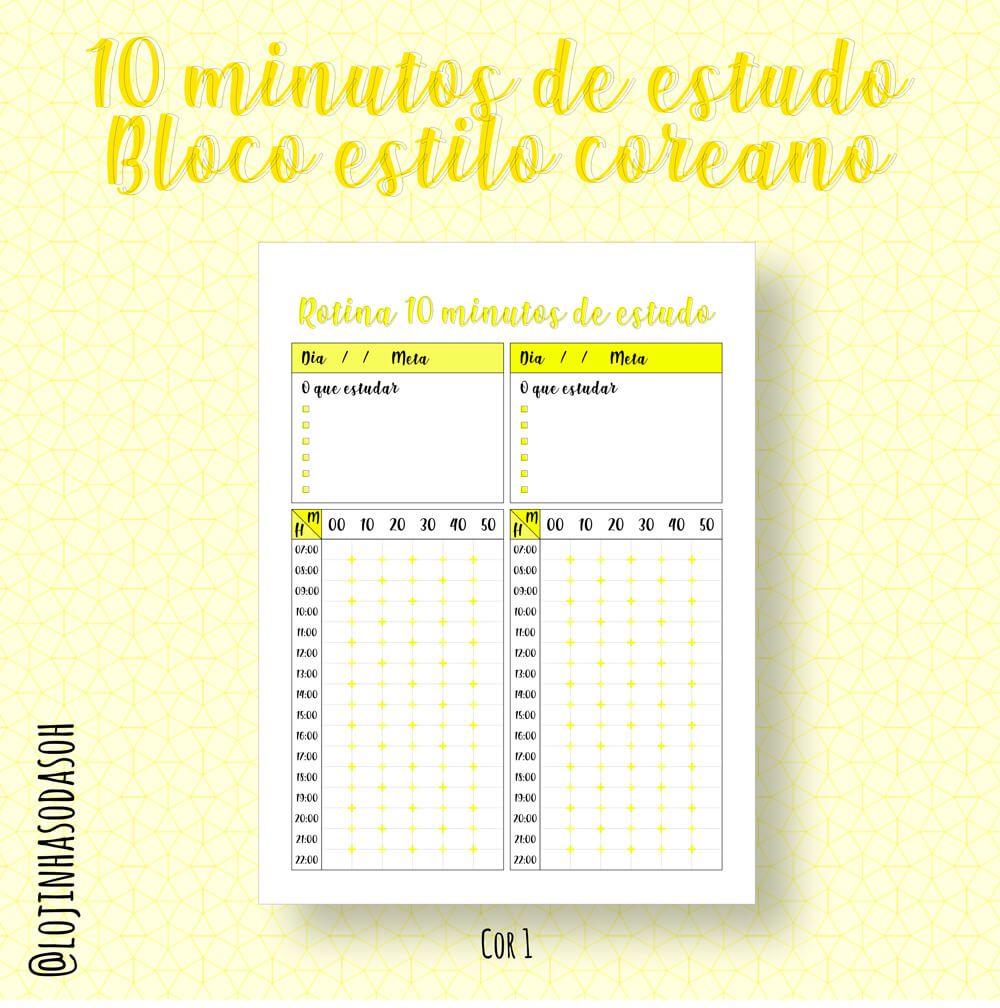 Bloco - Rotina 10 minutos de estudo (Estilo coreano)  - Lojinha Só Dasoh