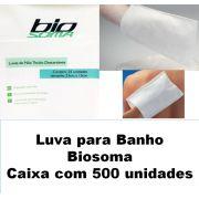 Luva para banho descartável Biosoma caixa com 500 unidades
