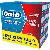 Creme dental oral-b anti caries 12 tubos de 70g