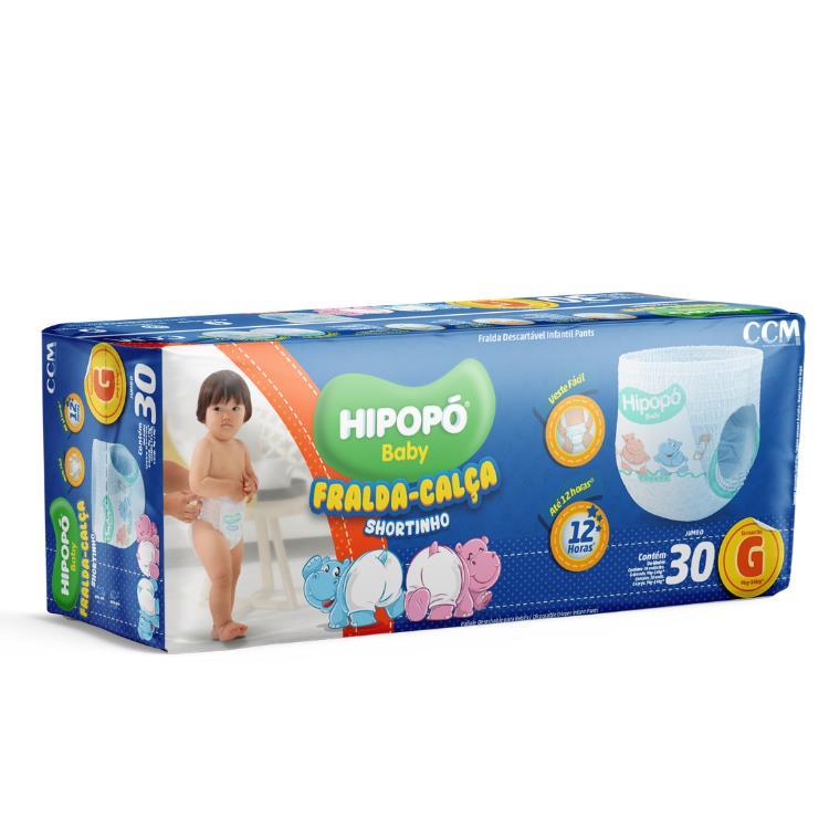 Fralda - calça Shortinho Hipopó Tam. G com 30 unidades