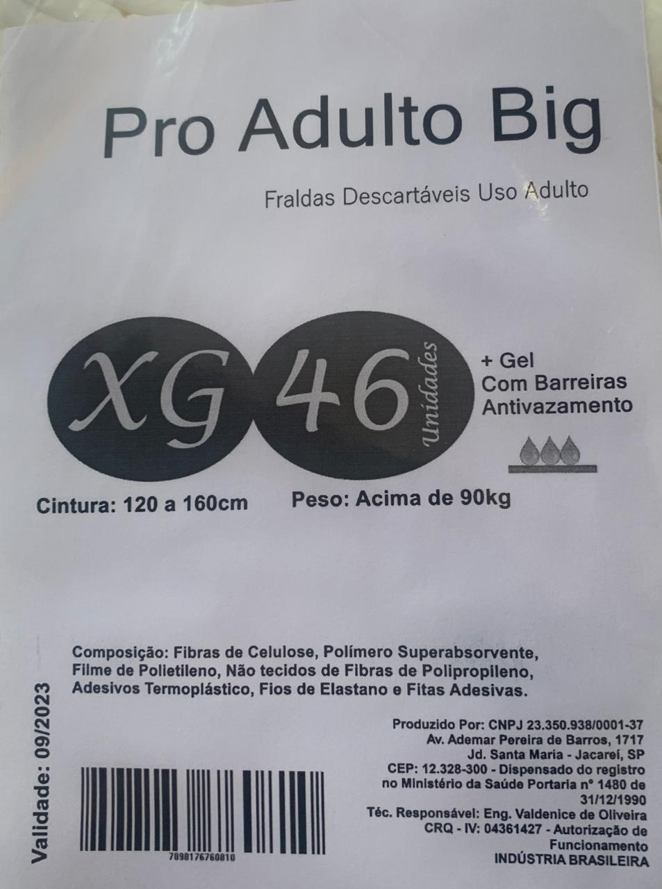 Fralda Geriátrica Pro adult big tam XG com 46 unidades
