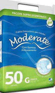 Fralda Moderate Grande com 50 unidades