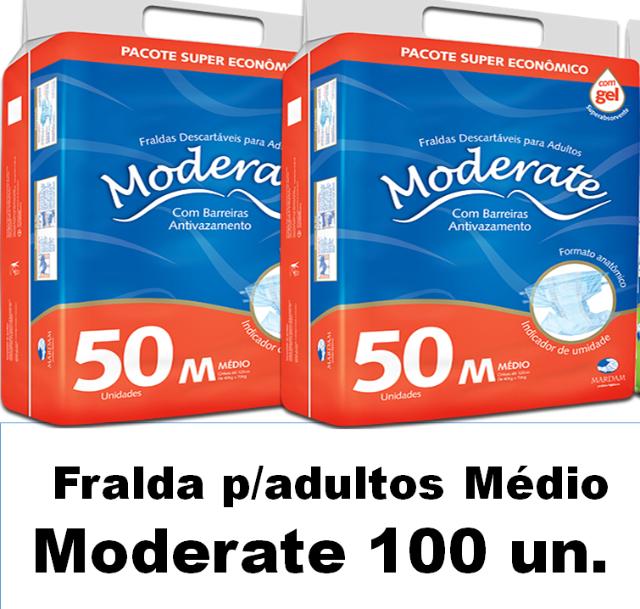 Fralda Moderate Médio caixa com 100 unidades