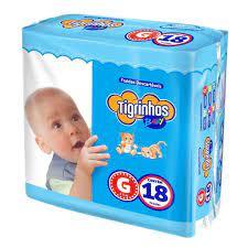 Fralda Tigrinhos baby  G com 180 unidades - 10 pacotes com 18 un.