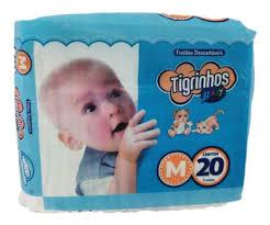 Fralda Tigrinhos baby M com 200 unidades - 10 pacotes com 20 un.