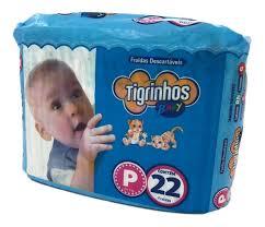 Fralda Tigrinhos baby P com 220 unidades - 10 pacotes com 22 unidades