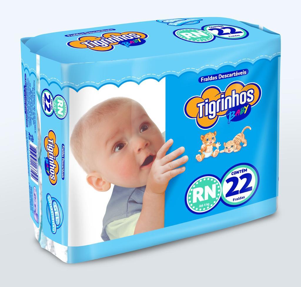 Fralda Tigrinhos baby RN com 220 unidades - 10 pacotes com 22 un.