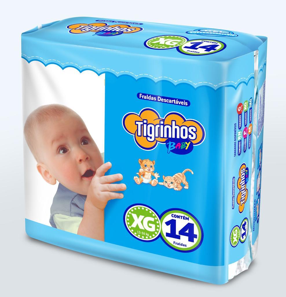 Fralda Tigrinhos baby XG com 14 unidades