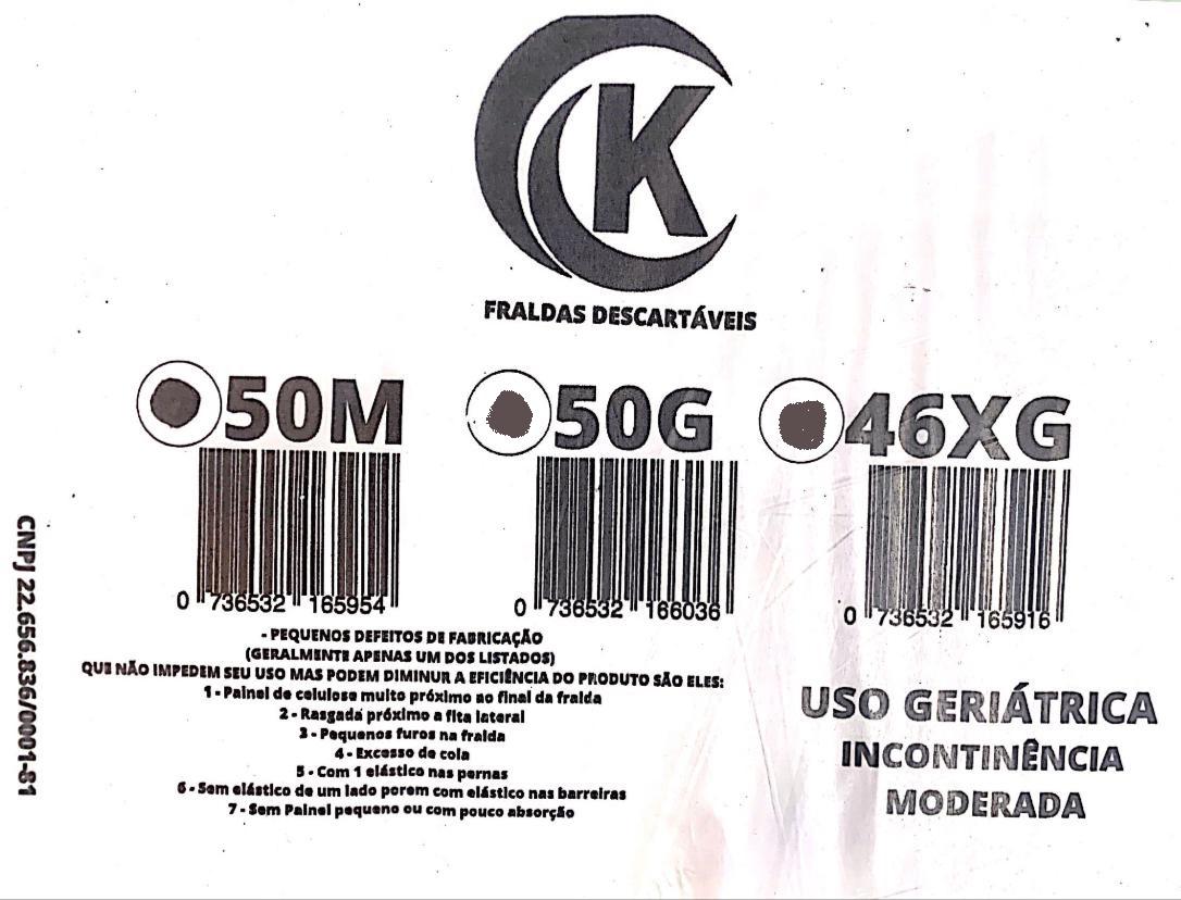 Fralda Vitacare XG com 46 unidades 2° linha ( com possíveis defeitos de fabrica)