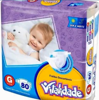 Fralda Vitalidade baby tamanho G com 80 fraldas