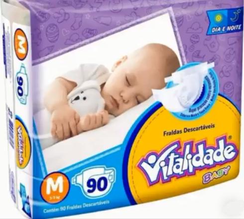 Fralda Vitalidade baby tamanho M com 90 unidades