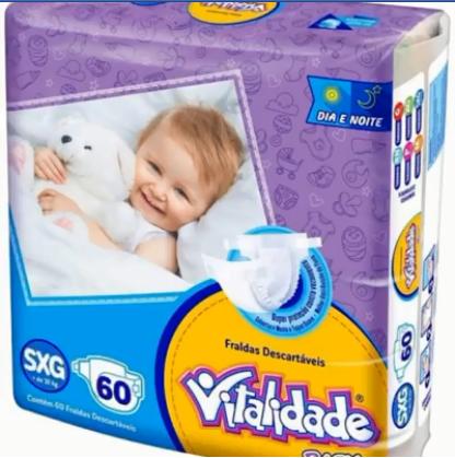Fralda Vitalidade baby tamanho SXG com 60 unidades
