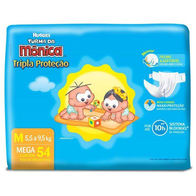 Huggies Turma da Mônica tripla proteção Médio com 54 unidades