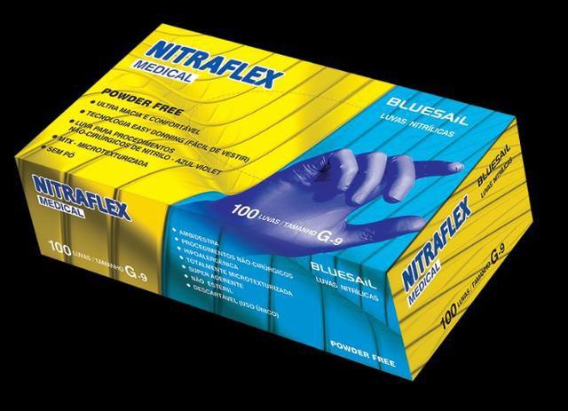 Luva Nitrílica Azul sem pó Nitraflex tamanho Médio com 100 unidades