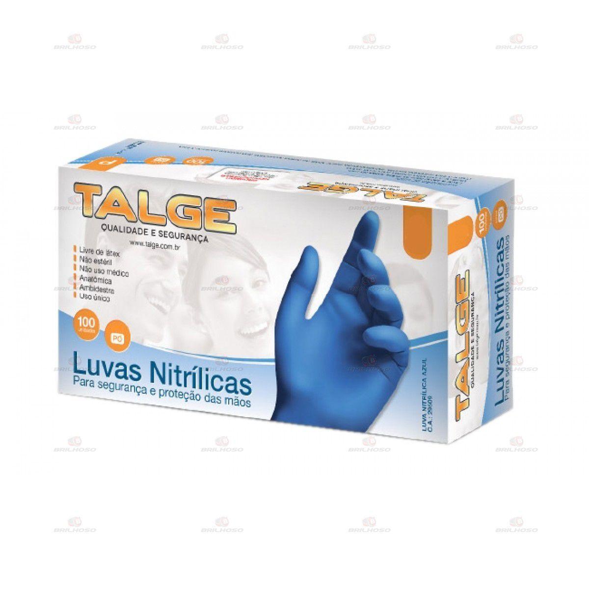 Luva Nitrilica Azul sem pó Talge Médio com 100 unidades
