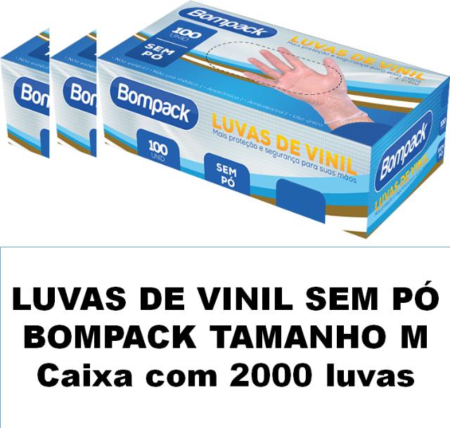 Luvas de vinil sem pó Bompack Médio caixa com 2000 unidades
