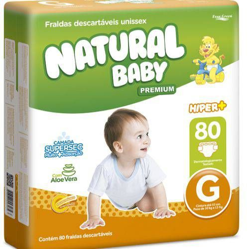 Natural baby Hyper+ premium Grande com 80 unidades