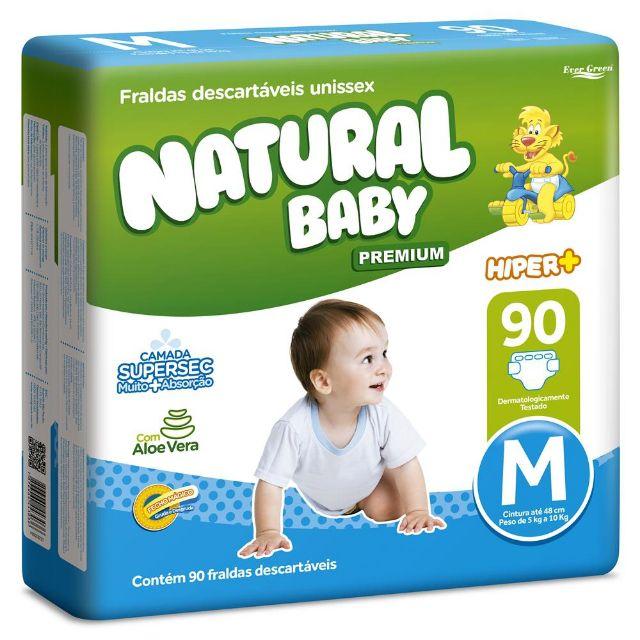 Natural baby Hyper+ premium Médio com 90 unidades