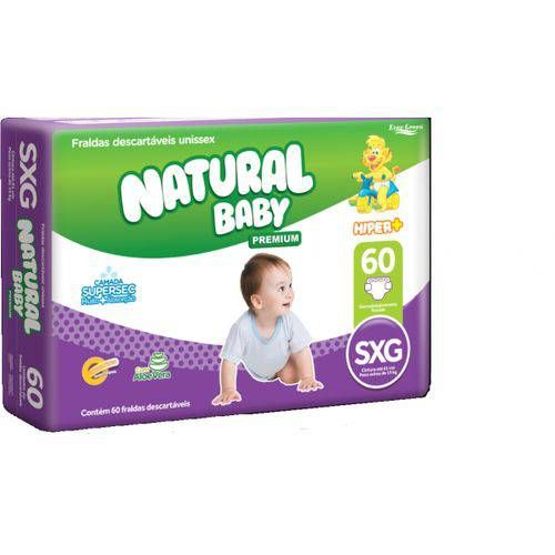 Natural baby Hyper+ premium Super Extra-Grande com 60 unidades