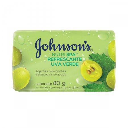 Sabonete pedra Johnsons Nutri Spa Refrescante Uva verde kit com 12 barras