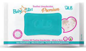 Toalha umedecida Baby Star Premium com 100 unidades